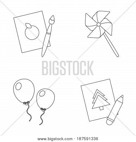 Pictures, a windmill, balloons. Tigers set collection icons in outline style vector symbol stock illustration .
