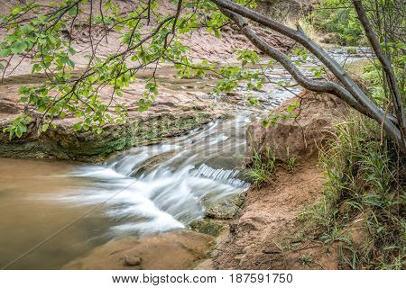 creek in Grandstaff Canyon (formerly known as Negro Bill Canyon) in the Moab area, Utah, spring scenery