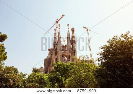 BARCELONA - JULY 29, 2016: Gaudis La Sagrada Familia