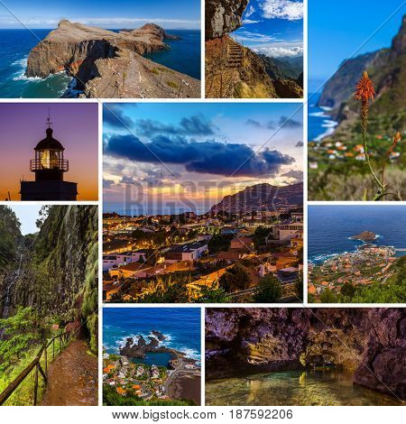 Collage of Madeira island in Portugal travel images (my photos) - nature and architecture background