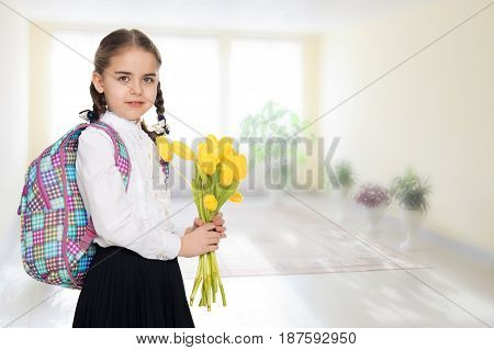 Beautiful little blond schoolgirl, with long neatly braided pigtails. In a white blouse and a long dark skirt.She is holding a bouquet of yellow tulips.In the room with the big bright window in the wall.
