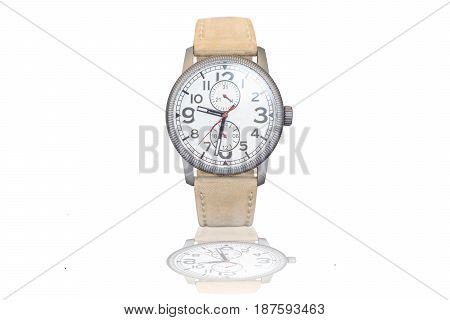 Luxury hand watch isolated on white background with reflection