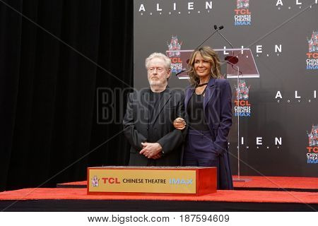 LOS ANGELES - MAY 17:  Ridley Scott, Giannina Facio at the Ridley Scott Hand and Foot Print Ceremony at the TCL Chinese Theater on May 17, 2017 in Los Angeles, CA