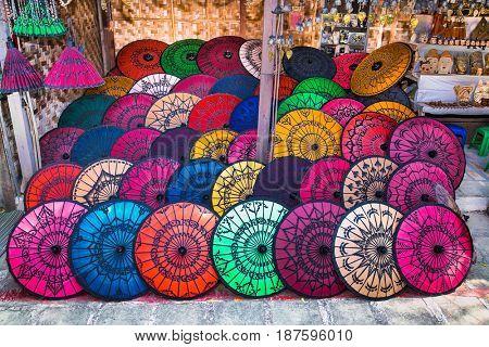 Colorful Umbrellas On Street Market In Bagan, Myanmar. (Burma)