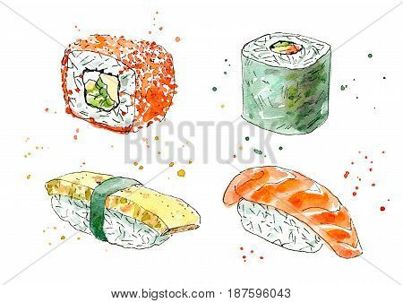Sushi and roll. Japanese cuisine.Salmon,caviar and omelette.Watercolor hand drawn illustration.