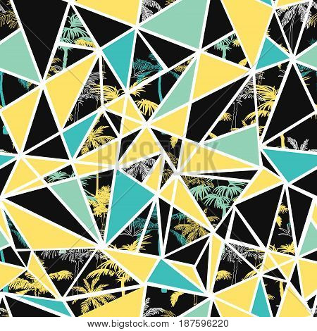 Vector palm trees on black, teal, and yellow triangles abstract seamless repeat pattern design. Great for modern fabric, wallpaper, scrapbooking, giftwrap, packaging projects. Surface pattern design.