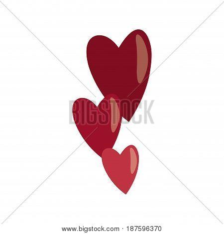red hearts falling emotion romantic symbol vector illustration