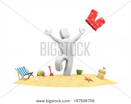 3d people on vacation - enjoy beach vacation. 3d illustration