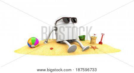 Robot in sunglasses sunbathe. 3d illustration