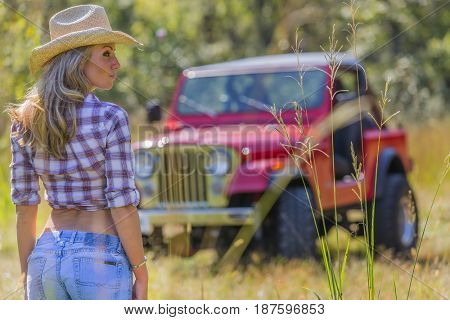 Beautiful blonde model posing with a car in a field