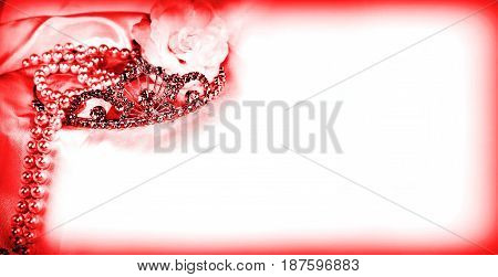 Longer horizontal size wedding red crown and jewelry in corner background