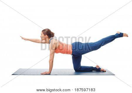 Woman doing Hatha yoga asana isolated on white background