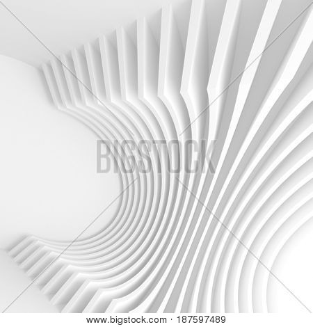 White Architecture Circular Background. Abstract Tunnel Design. Modern Geometric Wallpaper. 3d Rendering