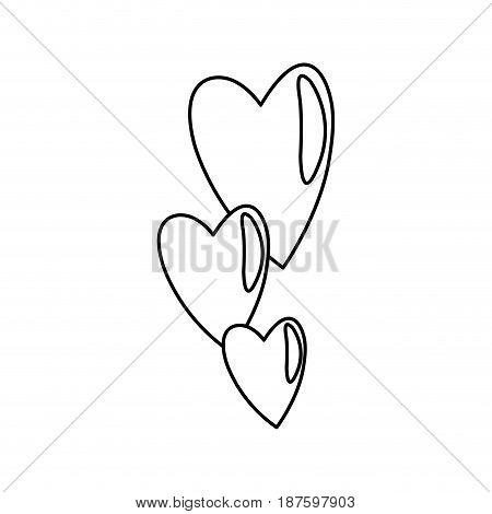 hearts falling emotion romantic symbol line vector illustration