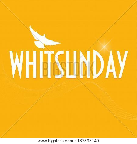 Illustration with  a dove silhouette: Christian holiday of Pentecost also known as Whitsun, Whitsunday, Whit Sunday or just Whit. Pigeon silhouette with text Whitsunday.