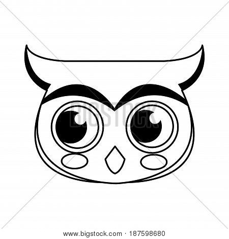 face owl christmas animal character outline vector illustration