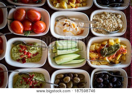 Luxury top view colorful various food table