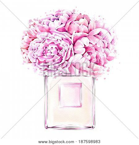 Watercolor illustration of hand painted perfume bottle and peonies