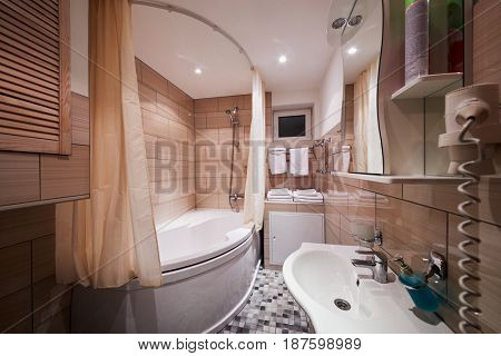 Interior of modern bathroom.