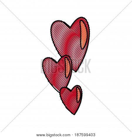 draw hearts falling emotion romantic symbol vector illustration