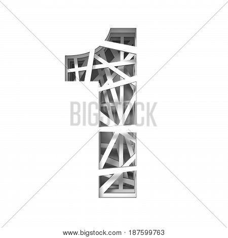 Paper Cut Out Font Number One 1 3D