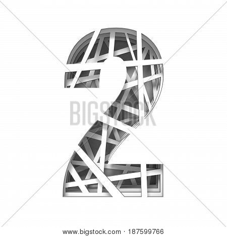 Paper Cut Out Font Number Two 2 3D