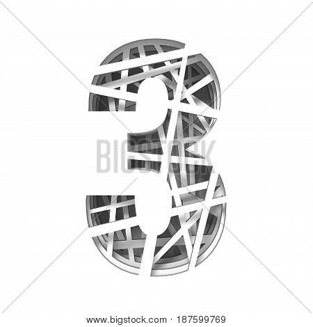 Paper Cut Out Font Number Three 3 3D