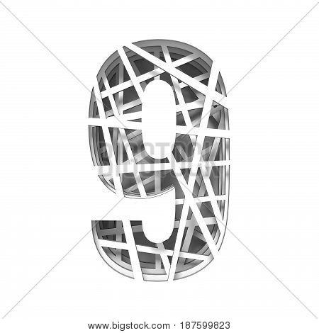 Paper Cut Out Font Number Nine 9 3D