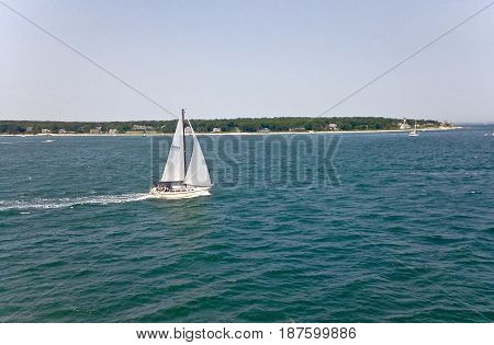 A sailboat in passing in Martha's Vineyard