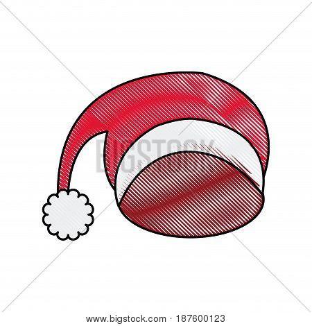 santa red hat celebration decoration icon vector illustration