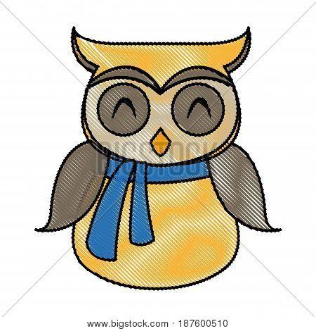 owl in christmas scarf festive image vector illustration