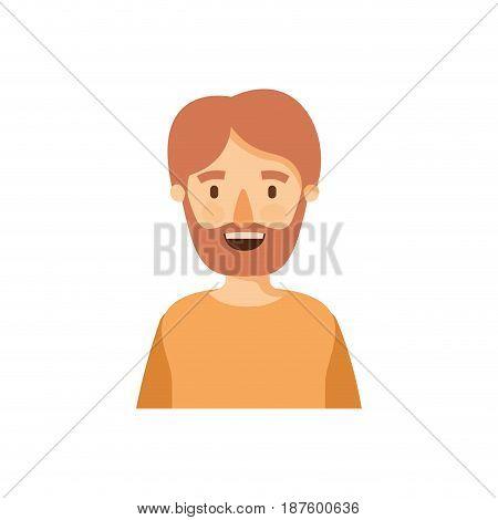 colorful caricature half body man bearded vector illustration