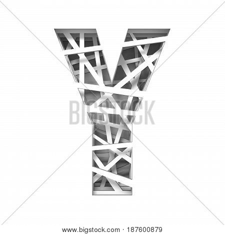 Paper Cut Out Font Letter Y 3D