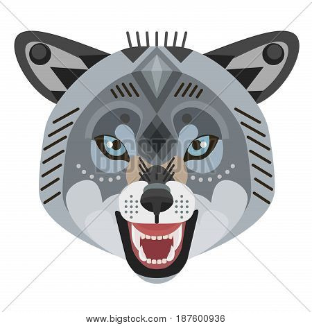 Angry wolf head Logo. Vector decorative Emblem