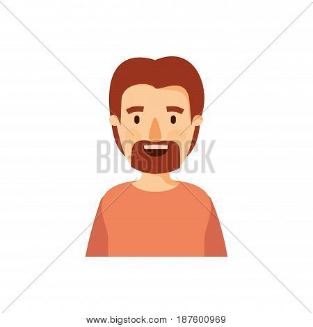 colorful caricature half body man with moustache and beard vector illustration