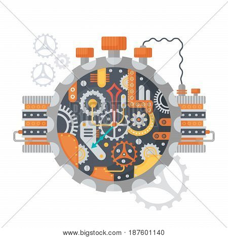 Steampunk vintage Cogs and clock face of watches isolated on white. Vector illustration