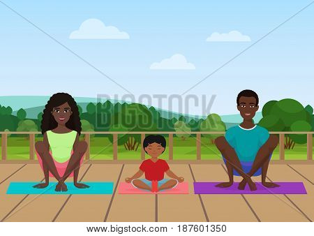 Vector illustration of the african american family meditating on the nature field background