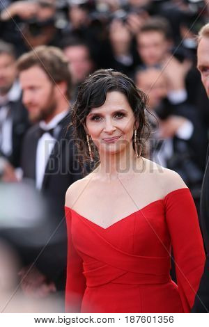 Juliette Binoche attends the 'The Killing Of A Sacred Deer' screening during the 70th Cannes Film Festival at Palais des Festivals on May 22, 2017 in Cannes, France.