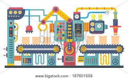 Flat color industrial manufacture conveyor machine vector illustration. Business product process production process concept