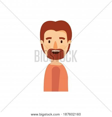 colorful caricature side view man with moustache and beard vector illustration