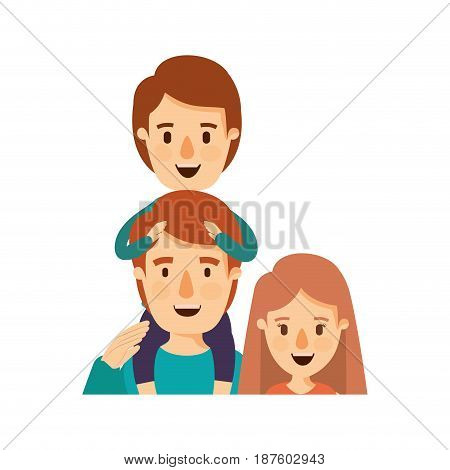 colorful caricature half body family mother and father with boy on his back vector illustration
