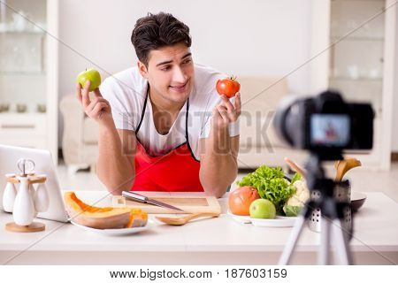 Food nutrition blogger recording video for blog