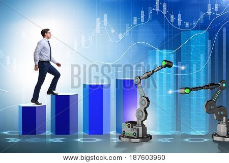 Businessman walking up the chart supported by robotic arm