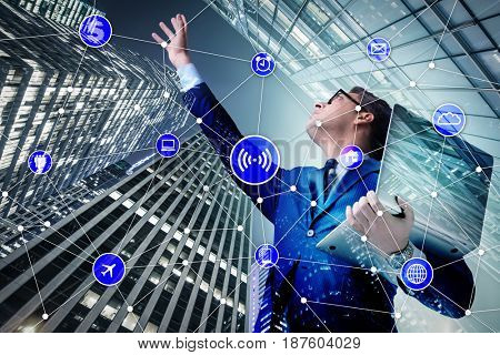 Internet of things concept with businessman