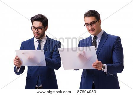 Two businessmen with virtual tablets isolated on white