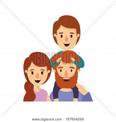 colorful caricature half body family parents with boy on his back vector illustration
