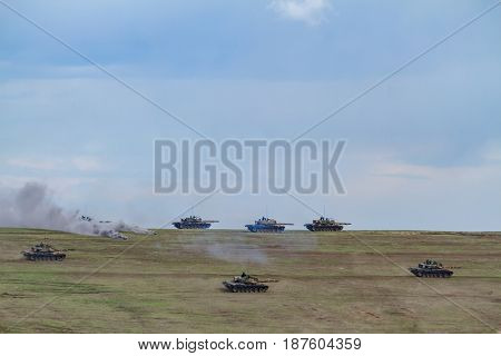 Romanian armoured vehicles take part in the NATO 'Wind Spring 15' military exercise at Smardan military shooting range on April 22, 2015.
