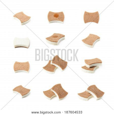 Artificial fiber kitchen sponge isolated over the white background, set of multiple different foreshortenings