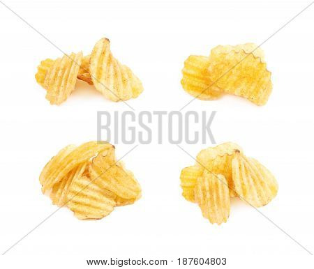 Pile of seasoned potato chip crisps isolated over the white background, set of four different foreshortenings