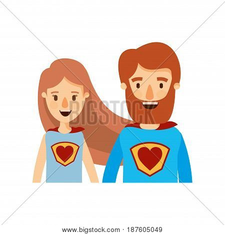 colorful caricature half body couple female and male super hero with heart symbol in uniform vector illustration